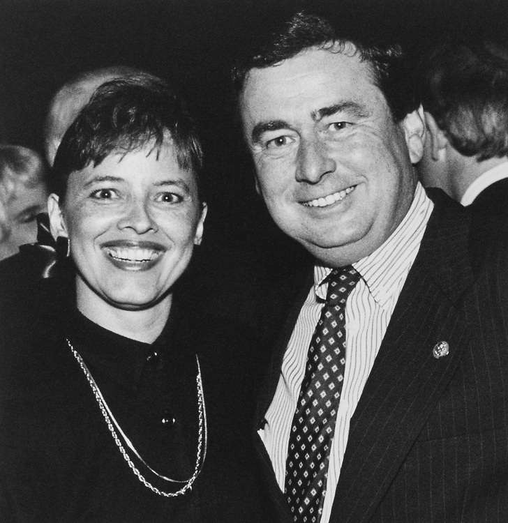 Rep. David R. Nagle, D-Iowa, and wife, Diane at CNP dinner for CEO, Mitchell on Oct. 17, 1989. (Photo by Maureen Keating/CQ Roll Call)
