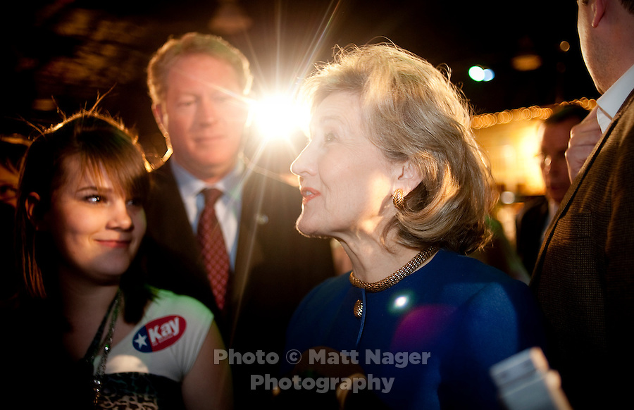 US Senator Kay Bailey Hutchison (cq) greets the crowd after giving her concession speech at Eddie Deen's Ranch near downtown Dallas, Texas, Tuesday, March 2, 2010. Hutchison was hoping to get enough votes during the Texas primaries to force a run-off election against current Governor Rick Perry (cq)...PHOTO/ MATT NAGER