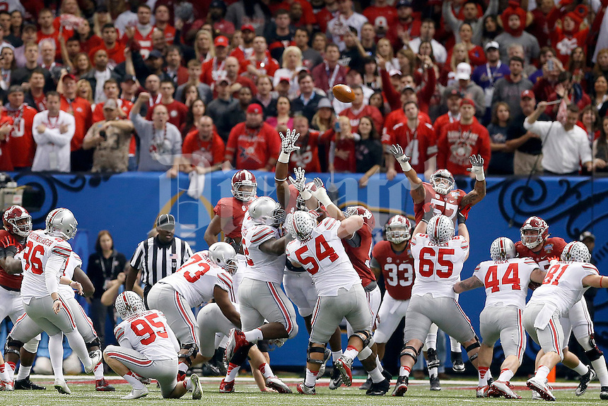 Ohio State Buckeyes place kicker Sean Nuernberger (96) scores the first points of the game during the first quarter in the Allstate Sugar Bowl college football playoff semifinal at Mercedes-Benz Superdome in New Orleans on Thursday, January 1, 2015. (Columbus Dispatch photo by Jonathan Quilter)
