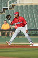 Lakewood BlueClaws first baseman Edwin Rodriguez (26) waits for a throw during the game against the Kannapolis Intimidators at Kannapolis Intimidators Stadium on July 7, 2018 in Kannapolis, North Carolina. The Intimidators defeated the BlueClaws 4-3 in 10 innings.  (Brian Westerholt/Four Seam Images)