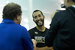 Petros Chrysochos of the Wake Forest Demon Deacons smiles as he answers questions from the media following the finals of the 2018 NCAA Men's Tennis Singles Championship at the Wake Forest Indoor Tennis Center on May 28, 2018 in Winston-Salem, North Carolina.  Petros Chrysochos defeated teammate Borna Gojo 6-3 6-3.  (Brian Westerholt/Sports On Film)