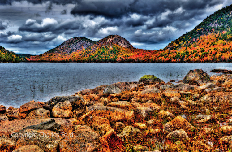 """High Dynamic Range (HDR) image of fall colors at Jordan Pond and """"The Bubbles"""", Acadia National Park, Maine."""