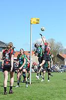 KORFBAL: REDUZUM: Sportpark Reduzum, 28-04-2013, Veld Hoofdklasse A, KV Mid Fryslân-LDODK AH Gorredijk, Eindstand 13-19, Menno Russchen (#20 | LDODK), Timo Rouam-Sim (#20 |MF), ©foto Martin de Jong