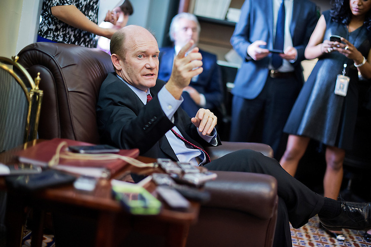 UNITED STATES - APRIL 14: Sen. Chris Coons, D-Del., conducts a pen and pad briefing in the Capitol's Senate Press Gallery on the markup of the Iran Nuclear Agreement Review Act in the Senate Foreign Relations Committee, April 14, 2015. (Photo By Tom Williams/CQ Roll Call)
