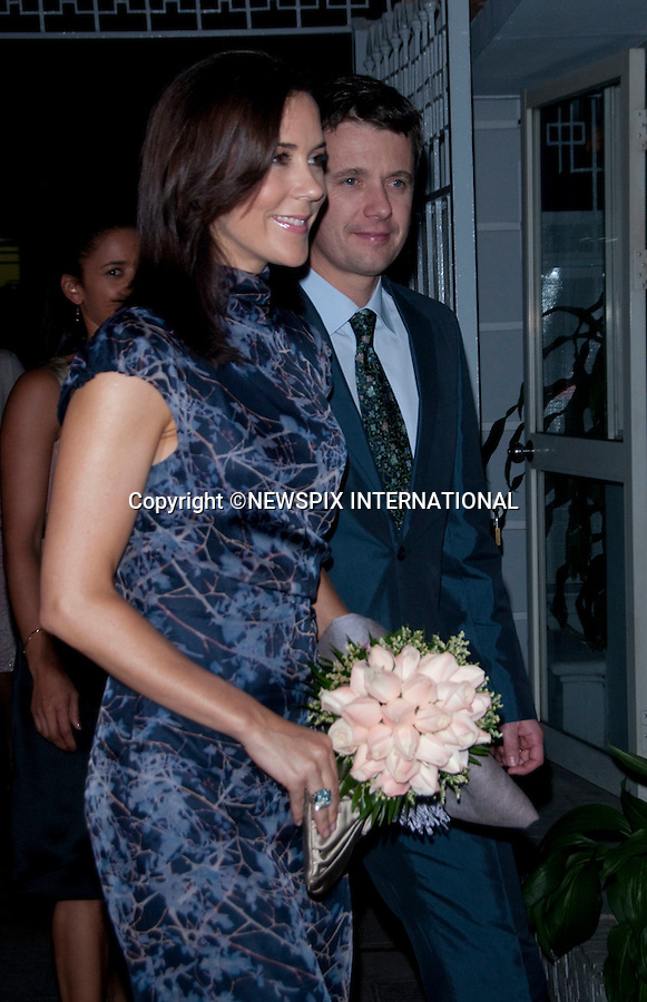 """CROWN PRINCESS MARY AND CROWN PRINCE FREDERIK.attend dinner at the Ambassador, Residence, Hanoi.The Danish Royals being a five day State Visit to the Socialist Republic of Vietnam tomorrow_01/11/2009.Mandatory Photo Credit: ©Dias/Newspix International..**ALL FEES PAYABLE TO: """"NEWSPIX INTERNATIONAL""""**..PHOTO CREDIT MANDATORY!!: NEWSPIX INTERNATIONAL(Failure to credit will incur a surcharge of 100% of reproduction fees)..IMMEDIATE CONFIRMATION OF USAGE REQUIRED:.Newspix International, 31 Chinnery Hill, Bishop's Stortford, ENGLAND CM23 3PS.Tel:+441279 324672  ; Fax: +441279656877.Mobile:  0777568 1153.e-mail: info@newspixinternational.co.uk"""