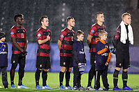 CARY, NC - DECEMBER 13: Ousseni Bouda #11, Charlie Wehan #10, Jared Gilbey #8, Keegan Hughes #5, and Andrew Thomas #1 of Stanford University are introduced during a game between Stanford and Georgetown at Sahlen's Stadium at WakeMed Soccer Park on December 13, 2019 in Cary, North Carolina.