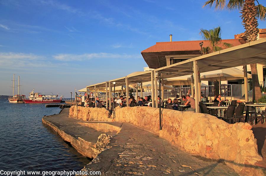 Waterfront cafe restaurant Mellieha Bay resort , Marfa peninsula, Malta