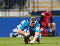 12th January 2020; RDS Arena, Dublin, Leinster, Ireland; Heineken Champions Champions Cup Rugby, Leinster versus Lyon Olympique Universitaire; Sean Cronin (Leinster) dives in to score a try - Editorial Use