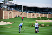 Freddie Jacobson (SWE) hits his approach shot on 18 during round 1 of the Valero Texas Open, AT&amp;T Oaks Course, TPC San Antonio, San Antonio, Texas, USA. 4/20/2017.<br /> Picture: Golffile | Ken Murray<br /> <br /> <br /> All photo usage must carry mandatory copyright credit (&copy; Golffile | Ken Murray)
