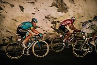 Jelle Vanendert (BEL/Lotto-Soudal) rolling through a huge dark cave: the 'Grotte du Mas-d'Azil'<br /> <br /> Stage 16: Carcassonne &gt; Bagn&egrave;res-de-Luchon (218km)<br /> <br /> 105th Tour de France 2018<br /> &copy;kramon