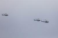 Nova York (EUA), 28/05/2019 - Turismo / Estados Unidos -  Três helicópteros da NYPD são vistos sobre o rio Hudson, em Nova York, nos Estados Unidos. (Foto: William Volcov/Brazil Photo Press/Agencia O Globo) Mundo