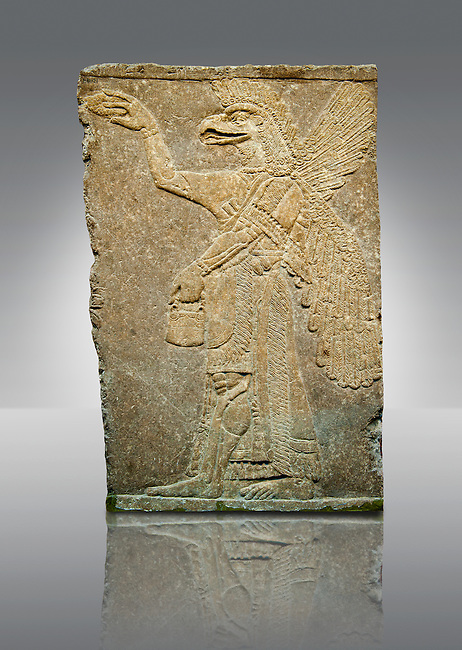Assyrian relief sculpture panel of a protective spirit with an eagles Head from Nimrud, Iraq.  The spirit is holding a symbolic fir cone and is sprinkling holy water from the bucket it is holding. The rosette bracelet worn around the wrist symbolises divine power. 865-860 B.C North West Palace, Room I. ref: British Museum Assyrian  Archaeological exhibit WA 118921