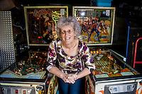 2016 07 18 Pinball widow Elaine Rolfe, Abergavenny, Wales, UK