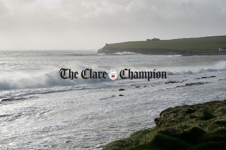 High seas pound the coast in Kilbaha during Storm Imogen. Photograph by John Kelly.