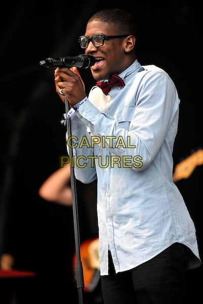 LABRINTH (Timothy McKenzie).Camp Bestival at Lulworth Castle & Park, Dorset, England..July 31st 2011.stage concert live gig performance music half length blue shirt singing mouth open glasses.CAP/ROS.©Steve Ross/Capital Pictures