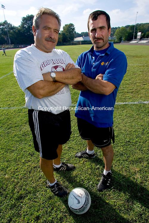 NAUGATUCK, CT- 05 SEPTEMBER 2008- 090508JT05-<br /> Naugatuck soccer coach Art Nunes with Seymour soccer coach Joe Perrucci at Naugatuck on Friday.<br /> Josalee Thrift / Republican-American