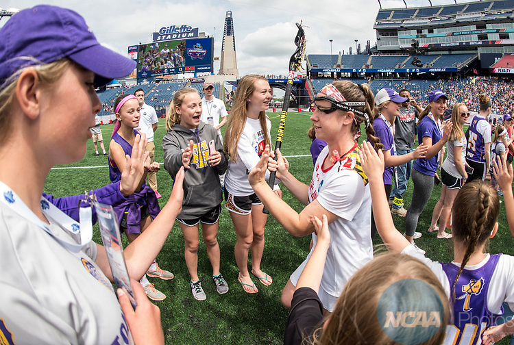 FOXBORO, MA - MAY 28: Members of the Maryland Terrapins are introduced ahead of the Division I Women's Lacrosse Championship held at Gillette Stadium on May 28, 2017 in Foxboro, Massachusetts. <br /> (Photo by Ben Solomon/NCAA Photos via Getty Images)