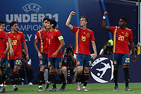 Dani Olmo of Spain celebrates with team mates after scoring a goal<br /> Udine 30-06-2019 Stadio Friuli <br /> Football UEFA Under 21 Championship Italy 2019<br /> final<br /> Spain - Germany<br /> Photo Cesare Purini / Insidefoto