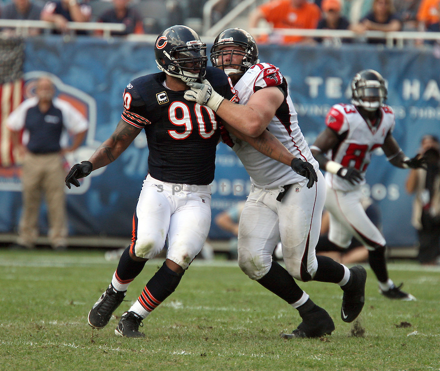JULIUS PEPPERS, of the Chicago Bears, in action during the Bears game against the Atlanta Falcons, on September 11, 2011 at Soldier Field in Chicago, IL. Chicago beat Atlanta 30-12.