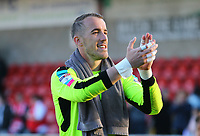 Fleetwood Town&rsquo;s Alex Cairns applauds the fans after the match<br /> <br /> Photographer Leila Coker/CameraSport<br /> <br /> The EFL Sky Bet League One - Fleetwood Town v Walsall - Saturday 5th May 2018 - Highbury Stadium - Fleetwood<br /> <br /> World Copyright &copy; 2018 CameraSport. All rights reserved. 43 Linden Ave. Countesthorpe. Leicester. England. LE8 5PG - Tel: +44 (0) 116 277 4147 - admin@camerasport.com - www.camerasport.com