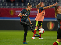 20170919 - LEUVEN , BELGIUM : Belgian Tessa Wullaert pictured during the female soccer game between the Belgian Red Flames and Moldova , the first game in the qualificaton for the World Championship qualification round in group 6 for France 2019, Tuesday 19 th September 2017 at OHL Stadion Den Dreef in Leuven , Belgium. PHOTO SPORTPIX.BE | BELGA | DAVID CATRY