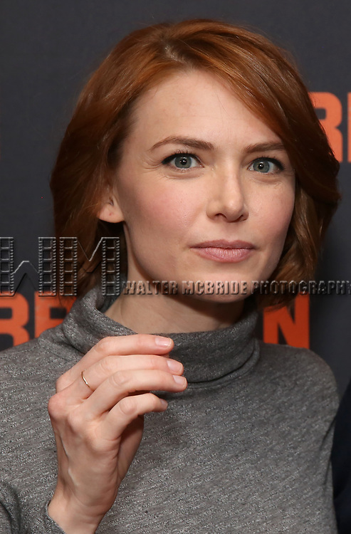"""Holly Fain attends the """"The Ferryman"""" cast change photo call on January 17, 2019 at the Sardi's in New York City."""