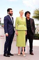 www.acepixs.com<br /> <br /> May 19 2017, Cannes<br /> <br /> (L-R) Jake Gyllenhaal, Tilda Swinton and Bong Joon-Ho at a photocall for 'Okja' during the 70th annual Cannes Film Festival at Palais des Festivals on May 19, 2017 in Cannes, France<br /> <br /> By Line: Famous/ACE Pictures<br /> <br /> <br /> ACE Pictures Inc<br /> Tel: 6467670430<br /> Email: info@acepixs.com<br /> www.acepixs.com