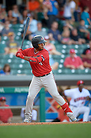 Rochester Red Wings second baseman Gregorio Petit (4) at bat during a game against the Indianapolis Indians on July 24, 2018 at Victory Field in Indianapolis, Indiana.  Rochester defeated Indianapolis 2-0.  (Mike Janes/Four Seam Images)