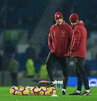 Arsenal's First Team Assistant Head Coach Steve Bould (left) talking to the Director of High Performance Darren Burgess (right) during the pre-match warmup<br /> <br /> Photographer David Horton/CameraSport<br /> <br /> The Premier League - Brighton and Hove Albion v Arsenal - Wednesday 26th December 2018 - The Amex Stadium - Brighton<br /> <br /> World Copyright © 2018 CameraSport. All rights reserved. 43 Linden Ave. Countesthorpe. Leicester. England. LE8 5PG - Tel: +44 (0) 116 277 4147 - admin@camerasport.com - www.camerasport.com