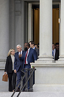 (L-R) US Secretary of Homeland Security Kirstjen Nielsen, White House Senior Adviser Jared Kushner Vice President Mike Pence and Ja'Ron Smith special assistant to the President of the United States exit the Eisenhower Executive Office Building on January 05, 2019 in Washington, DC. The U.S government is going into the third week of a partial shutdown with Republicans and Democrats at odds on agreeing with President Donald Trump's demands for more money to build a wall along the U.S.-Mexico border. Photo Credit: Tasos Katopodis/CNP/AdMedia