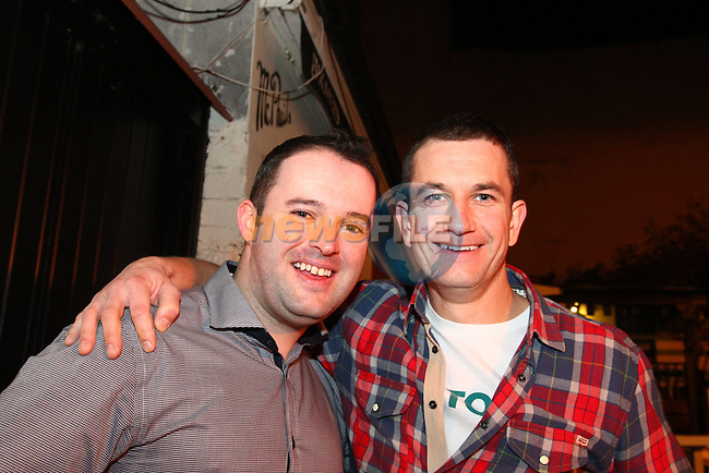 Martin McDevitt and Tony Bennett enjoying a night out in McPhails. Martin and Tony were out with IFS, celebrating raising &euro;1,500 for Temple Street Children's Hospital.<br /> Picture: Shane Maguire / www.newsfile.ie