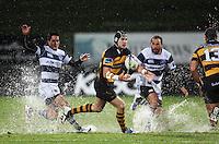 Taranaki's Jayden Hayward pops the ball to Paul Perez. Air New Zealand Cup rugby match - Taranaki v Auckland at Yarrows Stadium, New Plymouth, New Zealand. Friday 9 October 2009. Photo: Dave Lintott / lintottphoto.co.nz