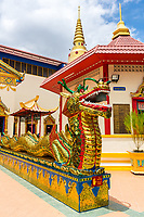 A Naga Guards Entrance to Wat Chayamangkalaram,  Temple of the Reclining Buddha.  George Town, Penang, Malaysia