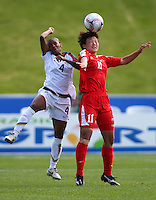 Crystal Dunn (USA) and YUN Hyon Hi (DPR) compete for a header. USA v Korea Republic. FIFA U-17 Women's World Cup Final. North Harbour Stadium, Auckland, Sunday 16 October 2008. Photo: Simon Watts/PHOTOSPORT