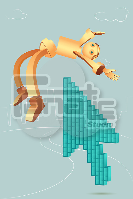 Illustrative image of arrow picking robotic businessman