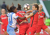 Portland, OR - Saturday August 19, 2017: Nichelle Prince, Emily Menges during a regular season National Women's Soccer League (NWSL) match between the Portland Thorns FC and the Houston Dash at Providence Park.