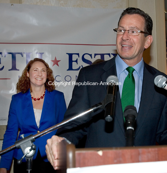 WATERBURY, CT. 06 November 2012-110612SV08-Governor Dannel P. Malloy, right, introduces Elizabeth Esty after she won the 5th Congressional District over challenger Andrew Roraback in Waterbury Tuesday..Steven Valenti Republican-American