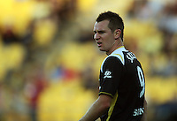Shane Smeltz shows his displeasure at a linesman's call during the A-League match between Wellington Phoenix and Newcastle Jets at Westpac Stadium, Wellington, New Zealand on Sunday, 4 January 2009. Photo: Dave Lintott / lintottphoto.co.nz