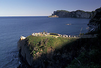 Forillon National Park, Canada, Gaspe Peninsula, Quebec, People at overlook on Cap Bon Ami in Forillon National Park on the Gaspe Peninsula on the Gulf of St. Lawrence in Quebec.