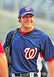 6 June 2009: AJ Pollock, a Junior from the University of Notre Dame and a potential upcoming draft candidate for the Washington Nationals, is observed in bating practice by the Nats' staff prior to a game against the New York Mets at Nationals Park in Washington, DC. The Nationals defeated the Mets 7-1, marking pitcher John Lannan's first complete game of his career. Mandatory Credit: Ed Wolfstein Photo