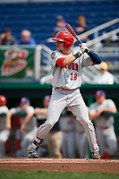 Auburn Doubledays center fielder Jacob Rhinesmith (18) at bat during a game against the Batavia Muckdogs on September 1, 2018 at Dwyer Stadium in Batavia, New York.  Auburn defeated Batavia 10-5.  (Mike Janes/Four Seam Images)