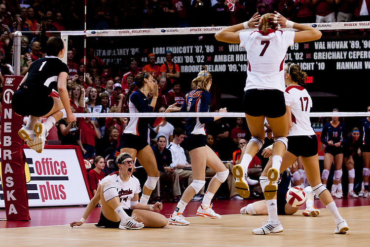 22 October 2011: #2 Nebraska Volleyball celebrate their win over #1 Illinois in four sets at the NU Coliseum in Lincoln, Nebraska. The Huskers lost the first set to come back and win three in row for the win.