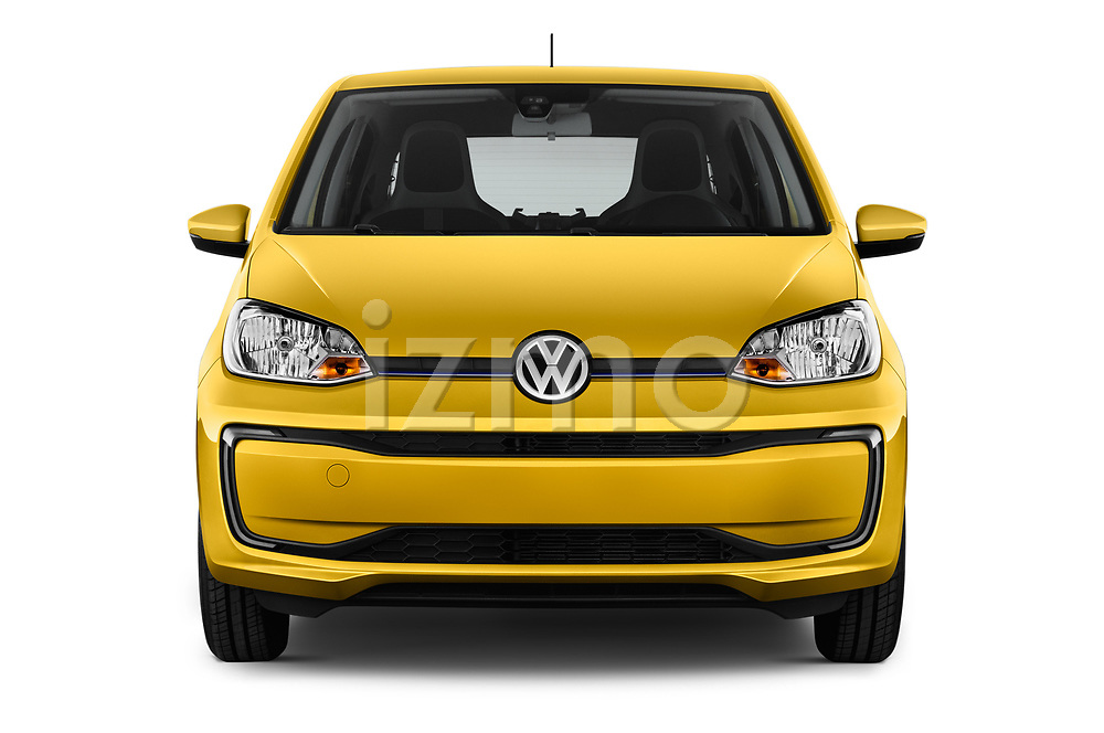 Car photography straight front view of a 2017 Volkswagen E-Up - 5 Door Hatchback Front View