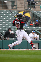Left fielder Adam Walker (30) of the Rochester Red Wings hits a double in the bottom of the 7th inning against the Scranton Wilkes-Barre Railriders on May 1, 2016 at Frontier Field in Rochester, New York. Red Wings won 1-0.  (Christopher Cecere/Four Seam Images)