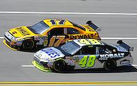 Apr 24, 2009; Talladega, AL, USA; NASCAR Sprint Cup Series driver Jimmie Johnson (48) races alingside Matt Kenseth (17) during practice for the Aarons 499 at Talladega Superspeedway. Mandatory Credit: Mark J. Rebilas-