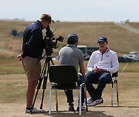 Matthew Fitzpatrick (ENG) being interviewed on the practice ground during the ASI Scottish Open 2018, at Gullane, East Lothian, Scotland.  11/07/2018. Picture: David Lloyd | Golffile.<br /> <br /> Images must display mandatory copyright credit - (Copyright: David Lloyd | Golffile).