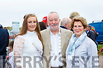 Cliona Coffey Festival Queen, Tony Hayes President and Mary Hanifan at the Rossbeigh races on Sunday