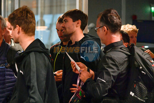 Riders and staff including Tom Dumoulin (NED) Team Sunweb arrive at Aeroporto di Caselle Turin to transfer to Rome after Stage 20 of the 2018 Giro d'Italia,  Italy. 26th May 2018.<br /> Picture: LaPresse/Marco Alpozzi | Cyclefile<br /> <br /> <br /> All photos usage must carry mandatory copyright credit (© Cyclefile | LaPresse/Marco Alpozzi)