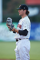 Kannapolis Intimidators first baseman Michael Hickman (18) on defense against the West Virginia Power at Kannapolis Intimidators Stadium on July 25, 2018 in Kannapolis, North Carolina. The Intimidators defeated the Power 6-2 in 8 innings in game one of a double-header. (Brian Westerholt/Four Seam Images)