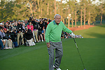 AUGUSTA, GA: APRIL 10 - Arnold Palmer prepares to tee off the first tee during the first round of the 2014 Masters held in Augusta, GA at Augusta National Golf Club on Thursday, April 10, 2014. (Photo by Donald Miralle)